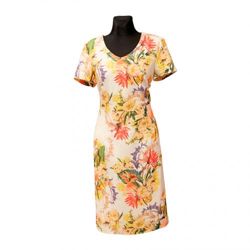 Šviesi gėlėta suknelė trumpomis rankovėmis ANMAR