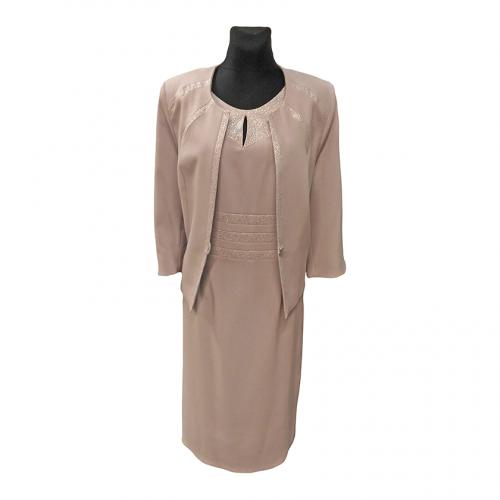 Pilkas moteriškas kostiumas ELIS2 (suknelė ir švarkas)