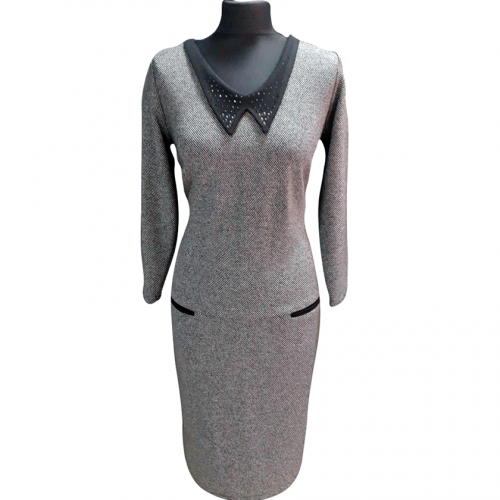 Pilka puošni suknelė AJS1 su kalnieriuku