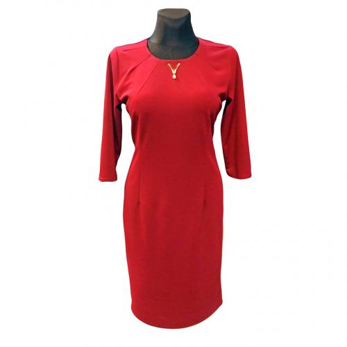 Elegantiška vienspalvė raudona suknelė PLRIS