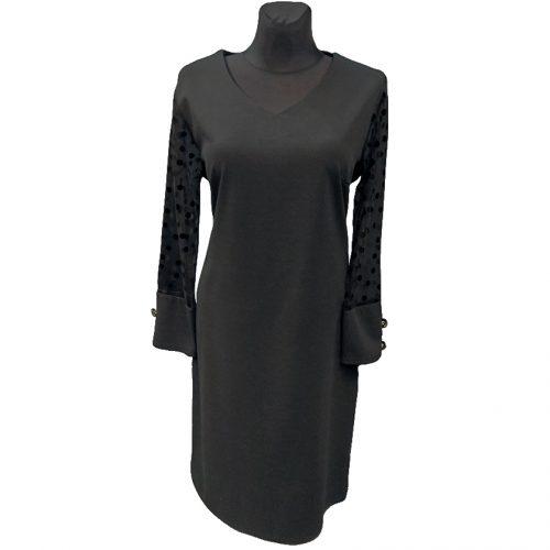 Juoda puošni suknelė žemiau kelių LUIZA