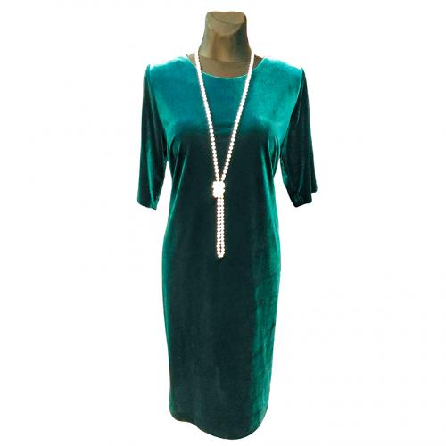 Klasikinė žalia suknelė iš veliūro OMGA2