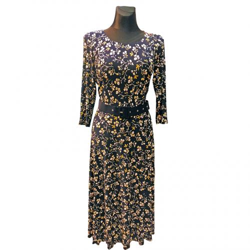 Elegantiška mėlyna suknelė su gėlėmis Mgdlna