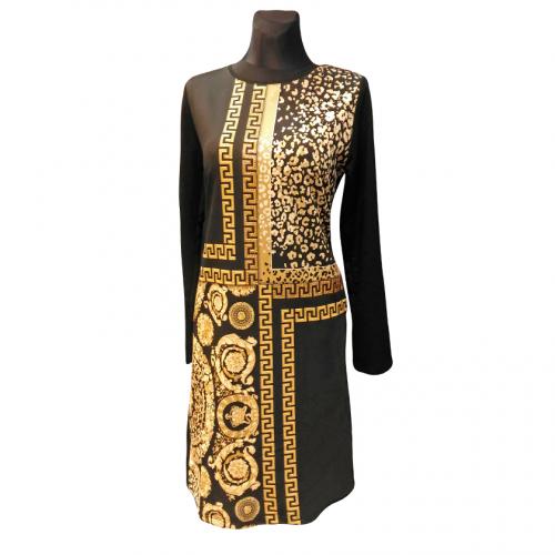 Juoda suknelė su auksiniais raštais Leticija