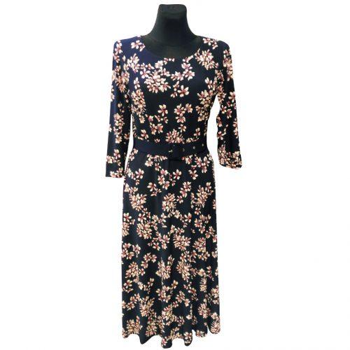 Elegantiška mėlyna suknelė su gėlėmis Mgdlna fl3