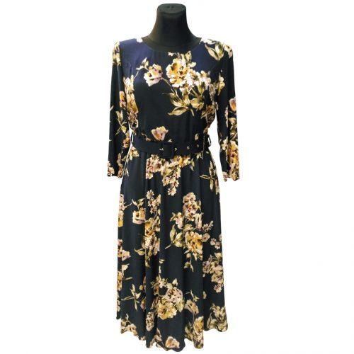 Elegantiška mėlyna suknelė su gėlėmis Mgdlna fl4
