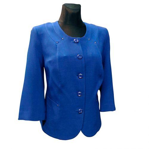 Klasikinis ryškiai mėlynas švarkas be pamušalo Yo mel1