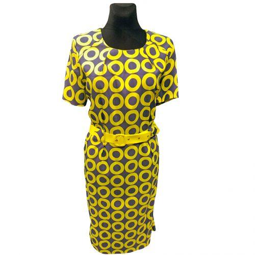 Vasariška geltona gėlėta suknelė Wesley fl1