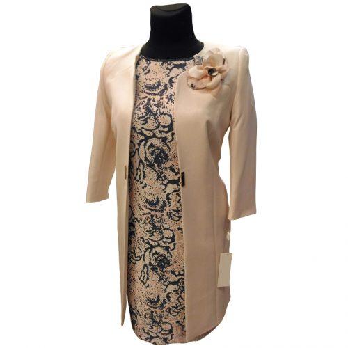 Puošnus moteriškas kostiumas iš dviejų dalių: suknelė trumpomis rankovėmis ir ilgas švarkas