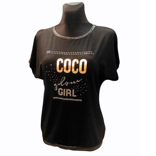 Juodos spalvos moteriški marškinėliai Top m