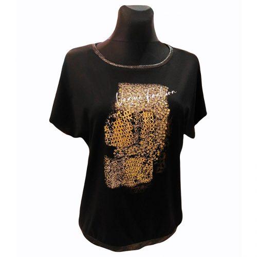 Juodi moteriški marškinėliai Top Mod