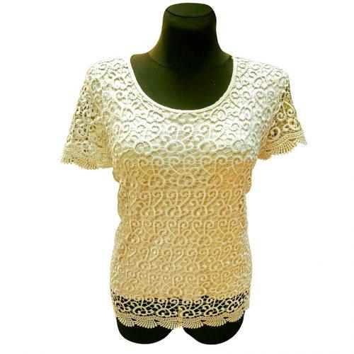 Šampano spalvos moteriški marškinėliai Rmax S