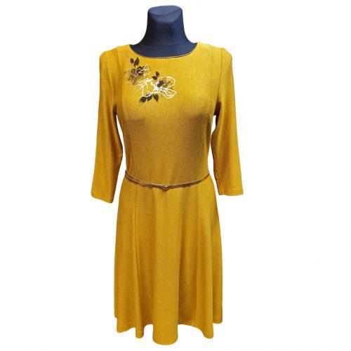 Puošni geltona suknelė su diržu Iris yel