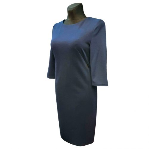 Mėlyna klasikinė suknelė žemiau kelių Clr mel