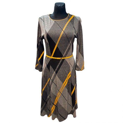 Patogi pilkos spalvos suknelė žemiau kelių Kaner yel