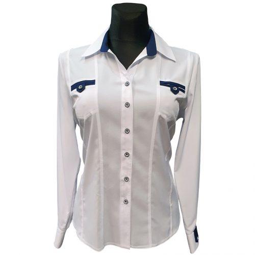 Balti moteriški marškiniai su kalnieriumi Bikkar 1