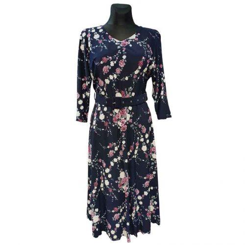 Elegantiška suknelė su gėlėmis Mgdlna fl pnk belt