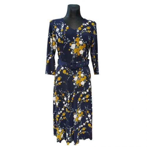 Еlegantiška tamsiai mėlyna suknelė Mgdlna fl yel belt