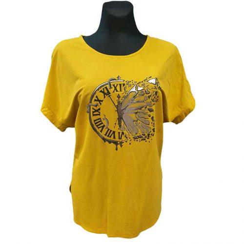 Geltoni moteriški marškinėliai Mgmra yel clock