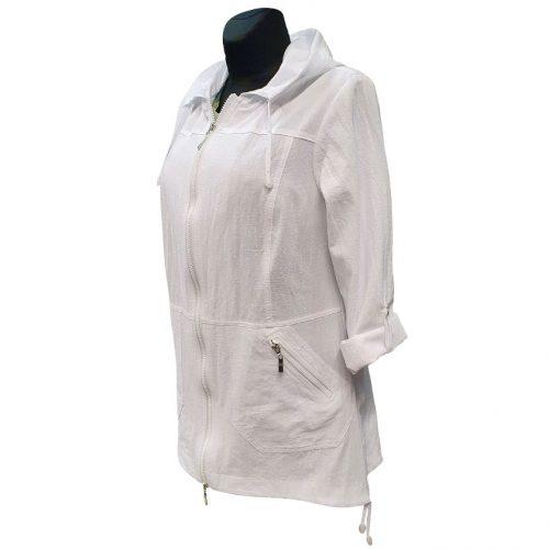 Balta moteriška striukė-švarkas su kapišonu Mir wh