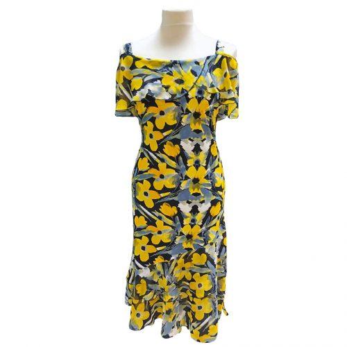 Vasarinė gėlėta suknelė žemiau kelių Ajs gel yel