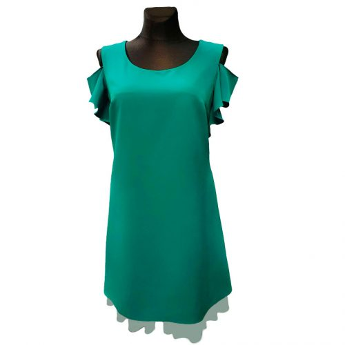Žalia šventinė jaunatviška suknelė iki kelių Raflen green