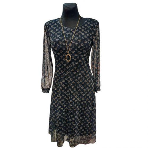 Tamsi suknelė peršviečiamomis rankovėmis Livili krap