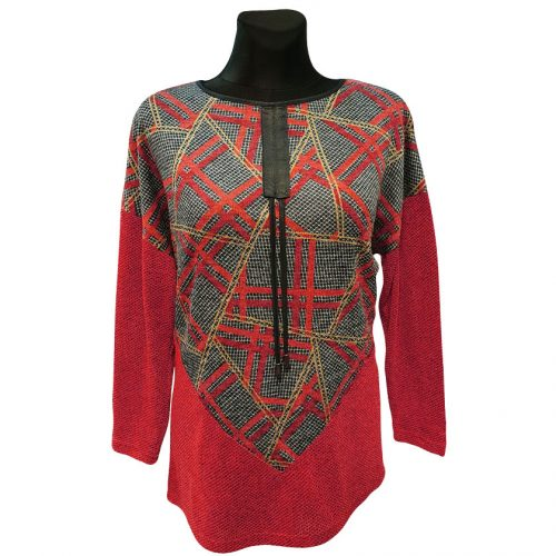 Moteriškas megztinis nuleistais pečiais Mgmra cwb red