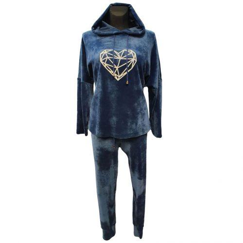Mėlynas moteriškas veliūrinis sportinis kostiumas Monika mel heart