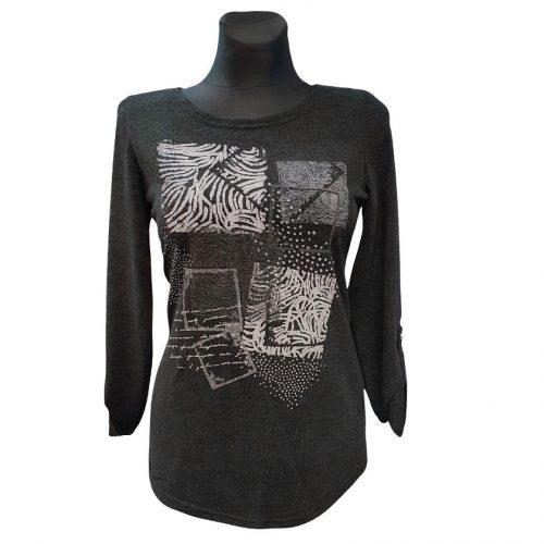 Tamsių spalvų moteriškas megztinis Magwa print